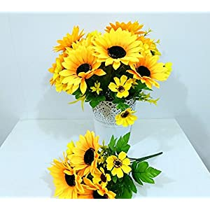 """Ieoyoubei 2 PCS Bouquet of Artificial Silk Flower Sunflower 12"""" Bouquet and Green Leaf for Home Decoration Bridal Wedding Festival Decoration Small Flower (Yellow-Orange) 7"""