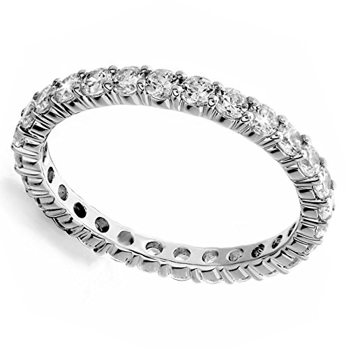 18K White Gold 3.74ct Round Diamond SI1,SI2 G-H 3.5mm Eternity Band 4.3gr Ring Size 8 -  Zhannel, 536-17W-18-35-8