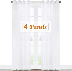 RYB HOME Sheer Curtains Panels Bedroom Window, Grommet Solid White Voile Drapes for Living Room Kitchen Home Office, Privacy Sheer Light & Airy, Wide 54 inch x Long 63 inch per Panel, 4 Pcs