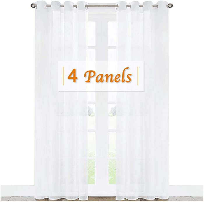 RYB HOME Extra Long Curtains for Large Window, Bedroom White Sheer Curtains Voile Draperies for Living Room Sliding Glass Door, Wide 54 x Long 95 inch Each Panel, 4 Panels