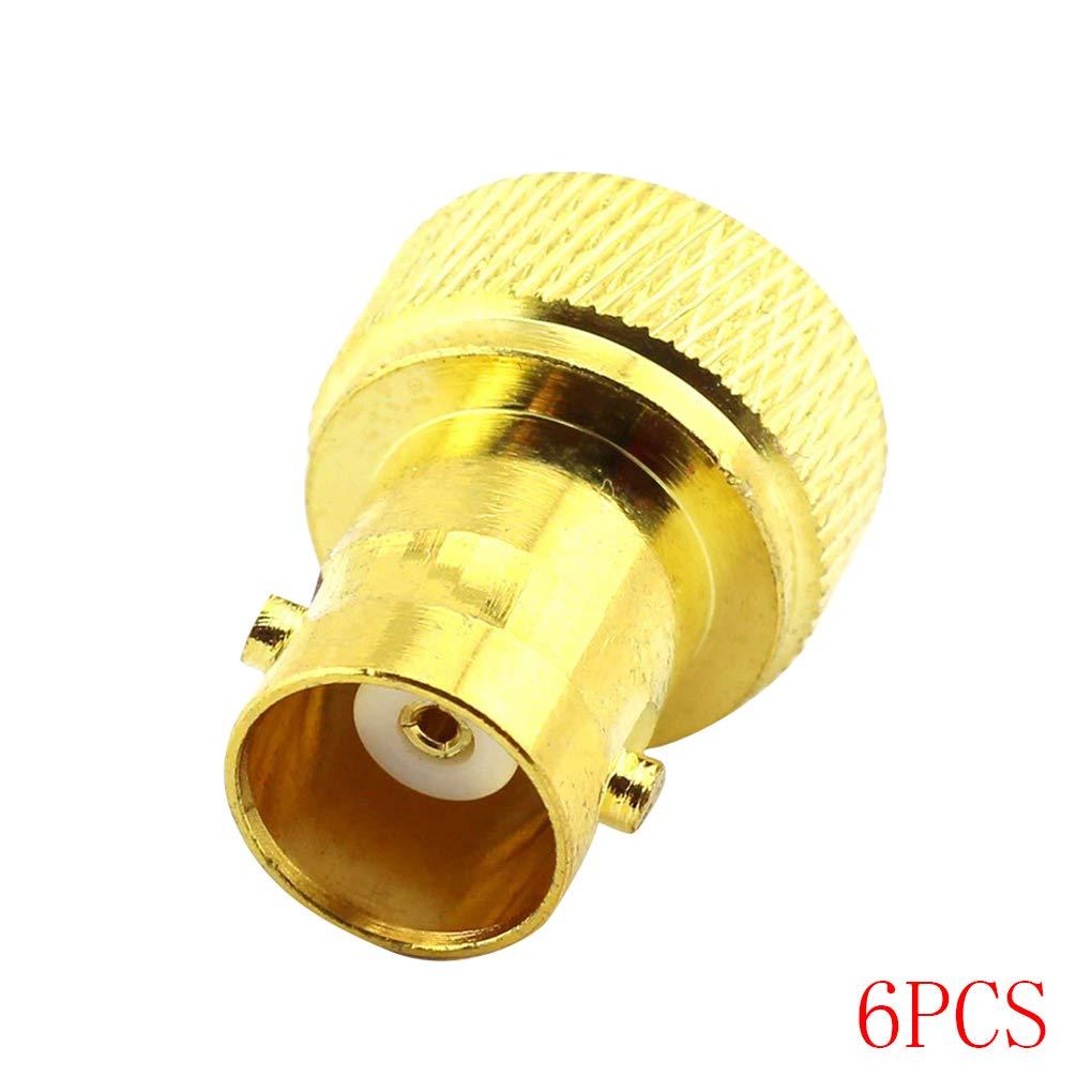 Bobury 1/2/4 / Adaptador Masculino 6Pcs RF coaxial Coax Adaptador BNC Hembra a SMA Conector de Repuesto Goldplated