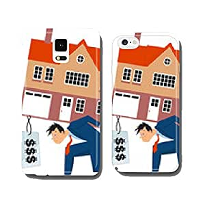 Depressed man carrying a house with a huge mortgage cell phone cover case iPhone6 Plus
