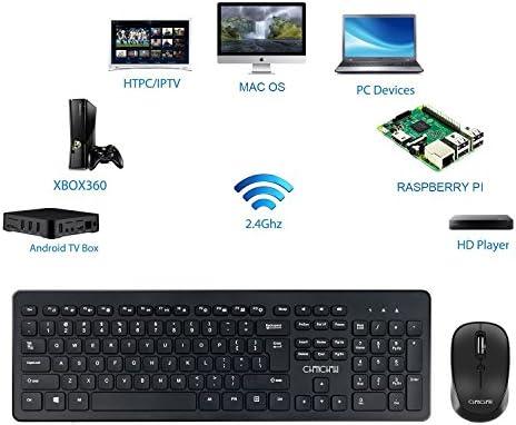Wireless USB Keyboard Mouse Combo CHONCHOW 2.4GHz Nano Receiver Full Size Slim Keyboard Ergonomic Mice for Windows 7//8//10 Linux Vista XP Chrome OS Black