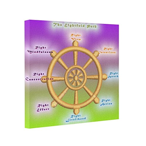 wonbye Gallery Wrapped Canvas The Noble Eightfold Path Dharma Wheel Painting On Canvas Stretched Canvas Prints,Framed 8 x 8 Inches ()