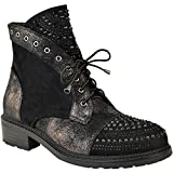 Search : Fashion Thirsty Womens Studded Gem Flat Ankle Boots Punk Metallic Crackle Size