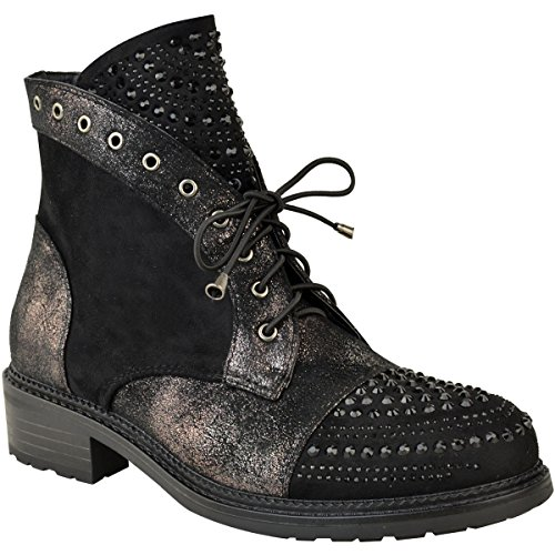 Size Ankle Faux Womens Studded Black Punk Flat Gem Suede Boots Crackle Thirsty Metallic Fashion xSZwvAZ