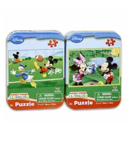 Mickey and Minnie Mouse Mini Puzzle Set (24pcs) - Mickey Travel Puzzle Set in Tin by Cardinal Industries Inc.