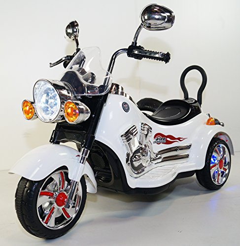 Charming rideONEcar. NEW KIDS MOTORCYCLE- B-SX138-white BATTERY OPERATED RIDE ON TOY MOTORCYCLE WITH REMOTE CONTROL 12 VOLTS  Evaluations