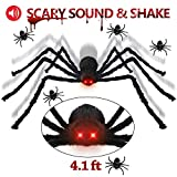 Halloween Decorations Giant Spider 4.1 ft with LED Eyes Spooky Sound Including 5 pcs Realistic Spider for Outdoor,Party,Bedroom Decor