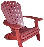 Phat Tommy Recycled Poly Resin Folding Deluxe Adirondack Chair – Durable and Patio Furniture, Dark Red