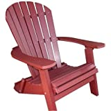 Phat Tommy Recycled Poly Resin Folding Deluxe Adirondack Chair U2013 Durable  And Patio Furniture, Dark Red
