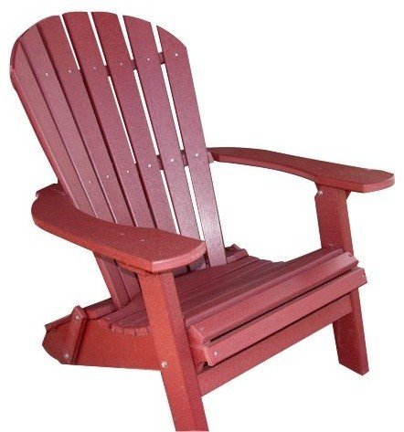 Phat Tommy Recycled Poly Resin Folding Deluxe Adirondack Chair - Durable and Patio Furniture, Dark -