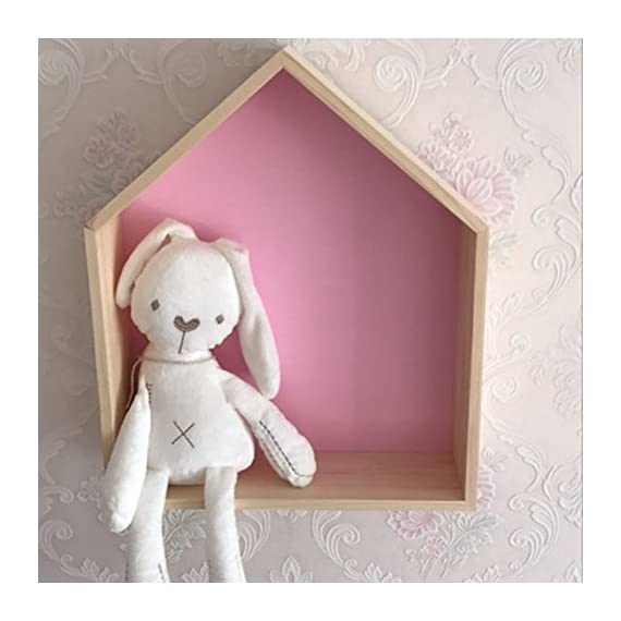"Da Jia 2PCS Wooden House-Shaped Wall Storage Shelf Kid's Room Decoration(Pink) - Set of 2 wood wall shelves: small:20*17*8cm(7.87""*6.69""*3.14"") , large: 35*30*8(13.77""*11.81""*3.14""). Each wood shelf comes with hardware for easy mounting. Group them together or utilize them separately as floating shelves. Add warmth and rustic charm to child room with these rustic wooden shelves made of pine wood. - wall-shelves, living-room-furniture, living-room - 51JQS4LJLLL. SS570  -"