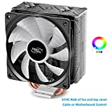 DEEPCOOL GAMMAXX GT BK, CPU Air Cooler, Sync RGB Top Cover and Fan, Cable or Motherboard Control Supported, 4 Heatpipes, 120mm RGB Fan, Universal Socket Solution