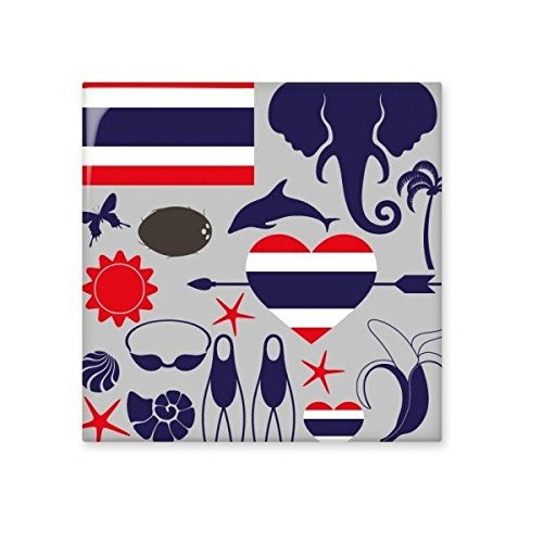 durable modeling Kingdom of Thailand Thai Traditional Customs Culture Elephant Flag Art Illustration Ceramic Bisque Tiles for Decorating Bathroom Decor Kitchen Ceramic Tiles Wall Tiles