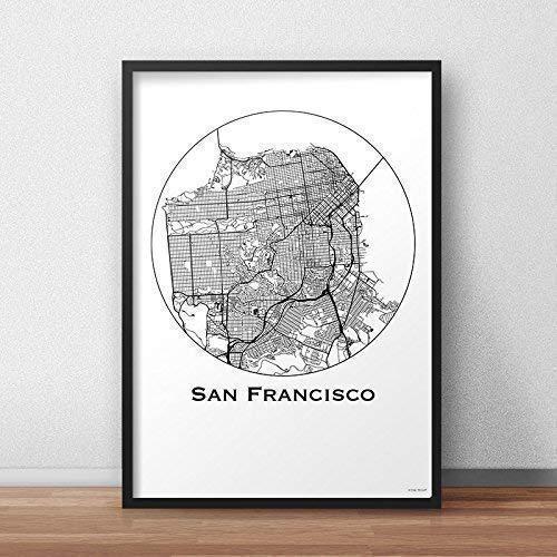 Plakat San Francisco USA Minimalist Map - Poster, City Map ...