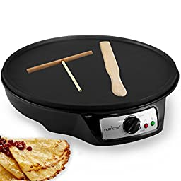 NutriChef  Electric Crepe Maker Griddle, 12 inch Nonstick Use also For Pancakes Blintzes Eggs & More Black (PCRM12)
