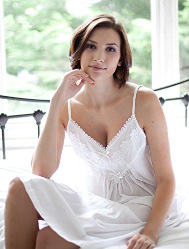 Cotton Real - Chemise de nuit -  Femme Blanc Blanc -  Blanc - Blanc - Large