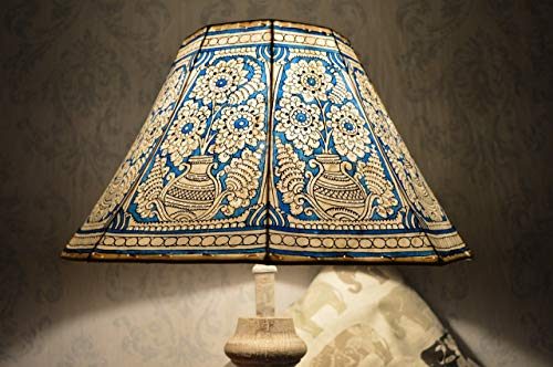 Mandala Pot Lamp Shade Large | Sea-Blue Hand Painted Leather Lampshade | Unique Patter Floor Lampshade - 8 Faced Shade - H-9.5, W-16 inches