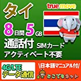 タイ 4G 高速 データ 通信 SIM カード (5GB/8日間(通話付き))