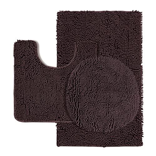 PHRIXUS Chenille Bathroom Rugs 3 Piece, Non-Slip Shaggy Absorbent Bath Rug Set Microfiber Includes Oversized Toilet Lid Cover & U-Shape Contoured Toilet Rug & Bath Mat for Tub, Shower, Floor, Brown