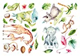 WAS-13038 Children's Room Deco Watercolour Wall Tattoo Safari Animals Jungle
