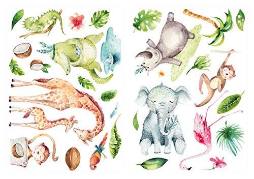 (WAS-13038 Children's Room Deco Watercolour Wall Tattoo Safari Animals)