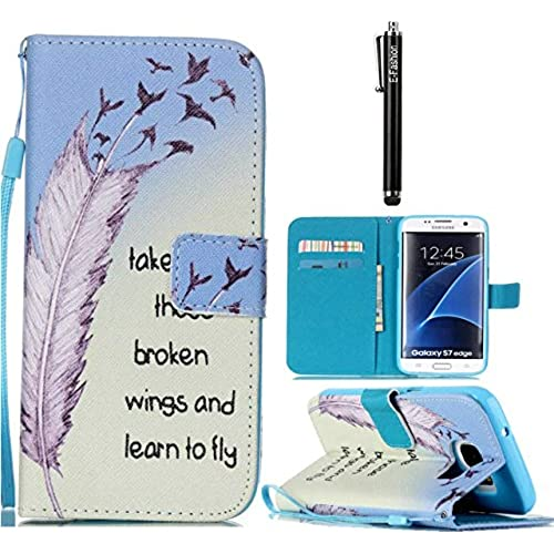 Samsung Galaxy S7 edge Case, E-fashion [Wallet Case] PU Leather Flip Case Cover [Card Slot][Magnetic Closure] For Samsung Galaxy S7 edge (Feather bird) Sales