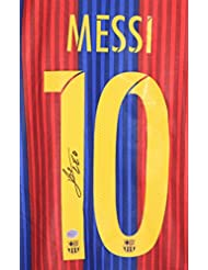Lionel Messi Autographed Signed Barcelona #10 Blue Red Jersey