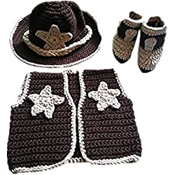 Pinbo Newborn baby boys Photo Prop Crochet Cowboy Set Hat Vest Boots Costume
