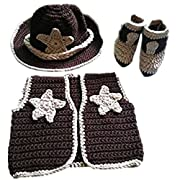 Pinbo Newborn baby boys Photo Prop Crochet Cowboy Set Hat Vest Boots Costume