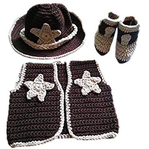 Pinbo Newborn baby boys Photo Prop Crochet Cowboy Set Hat Vest Boots Costume by Pinbo