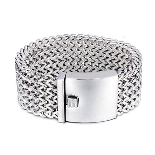 Heavy Cuff - JOYEN Men's Stainless Steel Large and Heavy 4 Rows Wheat Chain Bracelet, Punk Biker Bracelet, 8 inches (4 Layer Silver)