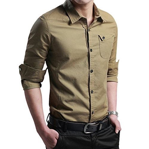 Localmode Men S Military Slim Fit Dress Shirt Casual Long