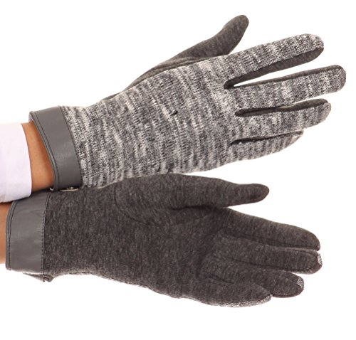 Sakkas CMZ1525 - Lilith Heather Knit Wrist Length Touch Screen Wrist Snap Winter Gloves - Charcoal - L