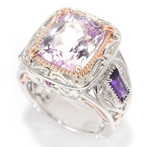 Michael Valitutti Palladium Silver Cushion Cut Kunzite, African Amethyst & Pink Sapphire Ring