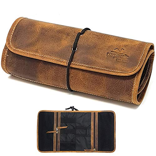 Leather Travel Organizer Bag for Cables, Small Electronics, Passport Holder