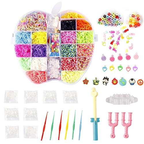 NEFUTRY Colorful Loom Kit, 4800 Rubber Bands, 18 Colors,8 Packs S-clips, 40 Colorful Beads, 1 Big Hook,6 Small Hook,6 Silicon Charms,20 Lovely Charms,1 Monster Tailloom Board, 2 Y-shape Looms by NEFUTRY