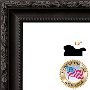 ArtToFrames 20x22 /  20  x  22 Picture Frame Black Frame with engraved edges ..  1.5'' wide (2WOMM330714)