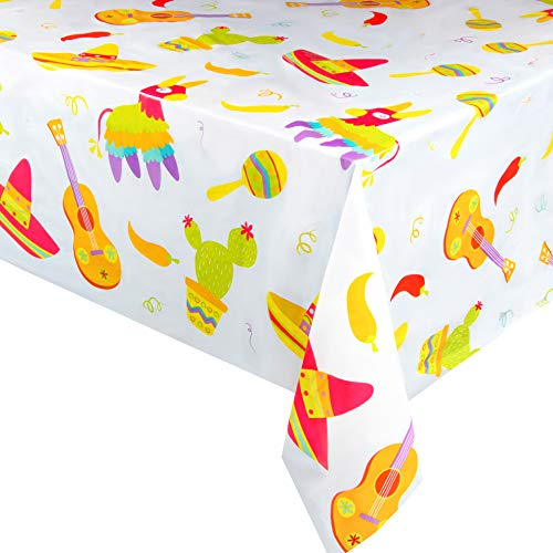 3-Pack Fiesta Plastic Tablecloth - Rectangle 54 x 108 Inch Disposable Table Cover, Fits Up to 8-Foot Long Tables, Mexican, Cinco de Mayo, Taco Themed Decorations, Fiesta Party Supplies, 4.5 x 9 Feet