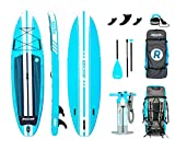 "iROCKER All-Around Inflatable Stand Up Paddle Board 11' Long 32"" Wide 6"" Thick SUP Package (Aqua 2019)"