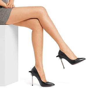 High Heels Schuhe - Regenbogen 2018 Neu 10.3cm High Heel Sandaletten Damen Spiky Bow Pumps (Farbe : Schwarz...
