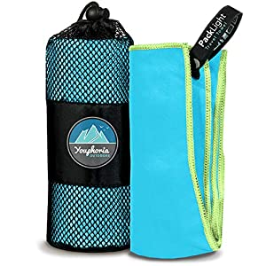 Youphoria Outdoors Microfiber Camping Towel Fast Drying Lightweight – Quick Dry Travel Towel & Sport Towel – 3 Size…