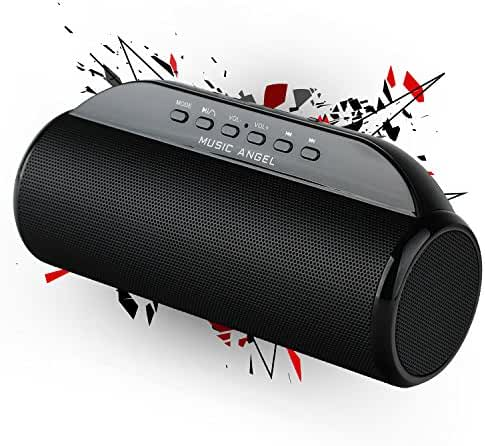 MUSIC ANGEL Ultra Portable Wireless Bluetooth Speaker : Louder V 12W+, Super Bass, Highly Portable, Perfect Speaker Beach, Kitchen & Home (Black)