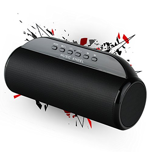 Price comparison product image MUSIC ANGEL Ultra Portable Wireless Bluetooth Speaker : Louder V 12W+,  Super Bass,  Highly Portable,  Perfect Speaker Beach,  Kitchen & Home (Black)