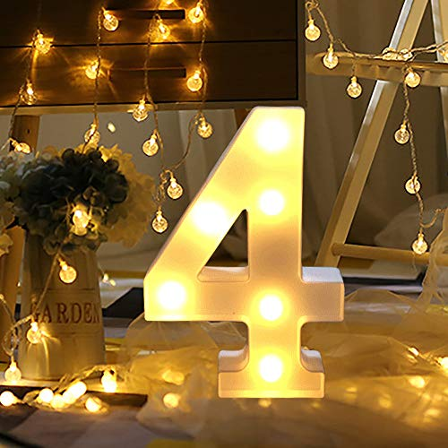 Gbell 8.7Inch 0-9 Numbers DIY LED Lights with Remote Control-White Plastic Digital Standing Hanging Lights for Indoor Use,Home,Shopwindow,Wedding,Club,Party,Holiday Christmas New Year Decor (White, 4)]()