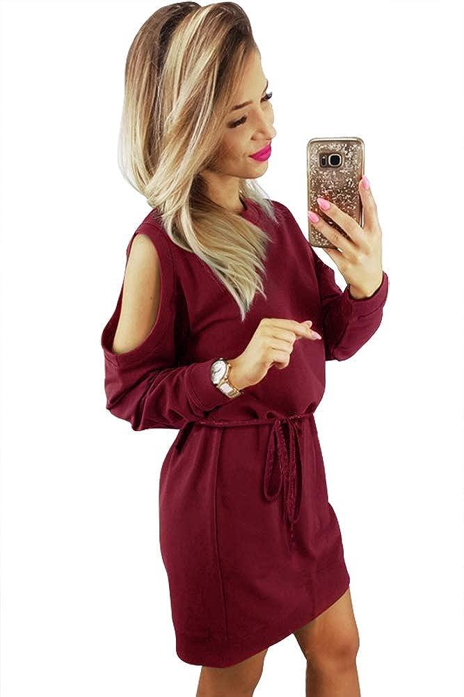 Longwu Women's Elegant Long Sleeve Cold Shoulder Loose Casual Dress Belt Dress-G-L34-DZ095