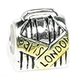 Sterling Silver Suitcase Paris London with Gold-Tone European Style Bead Charm