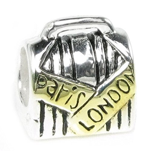 Queenberry Sterling Silver Suitcase Paris London with Gold-Tone European Style Bead Charm