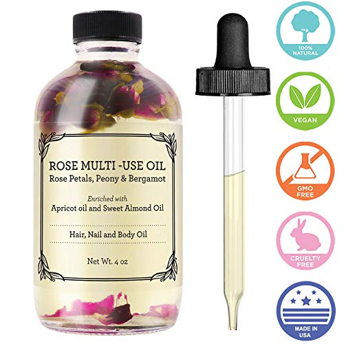 (Rose Multi-Use Oil for Face, Body & Hair - Hydrates Skin & Restores Hair's Natural Shine - Rose Petals, Peony & Bergamot - Enriched with Apricot Oil, Sweet Almond Oil & Fractionated Coconut Oil - 4OZ)